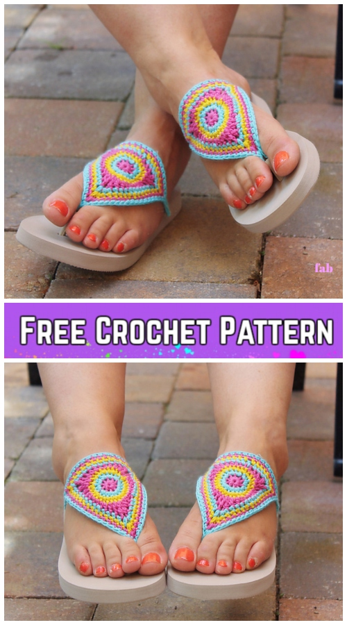 Crochet Adult Bloom Flip Flop Sandals Crochet Free Pattern