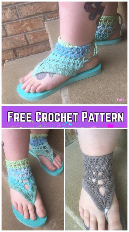 AdultTranquil Triangle Flip Flop Sandals Crochet Pattern