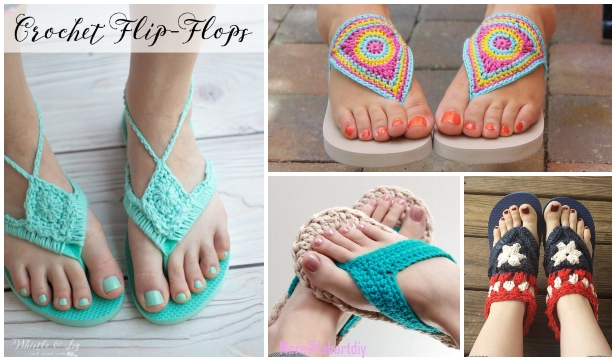 Adult Flip Flop Sandals Crochet Patterns Free & Paid