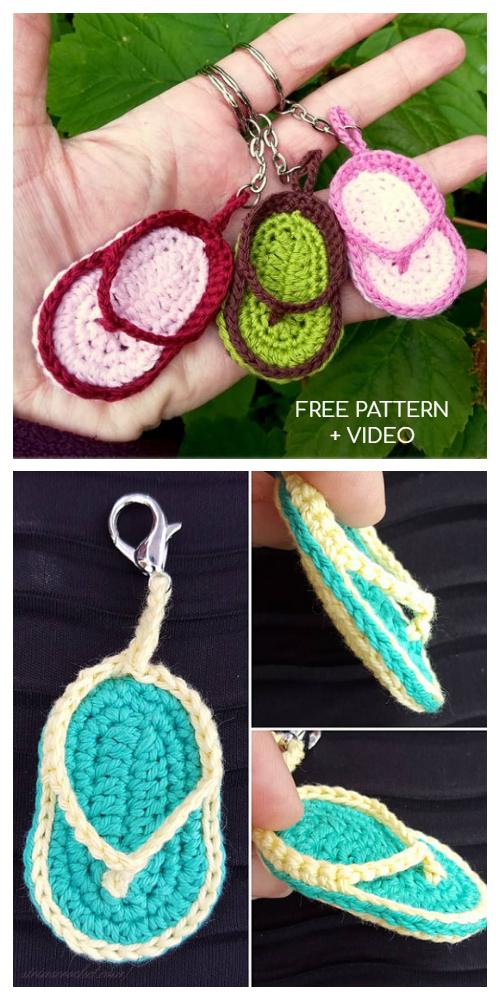 Cute Bow Slipper Keychain Free Crochet Patterns + Video