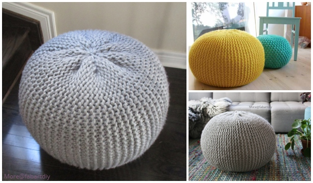 Chunky Cable Stool Cover Knitting Pattern for IKEA Ottoman