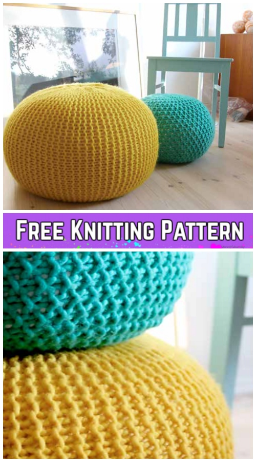 Puff Daddy Cable Stool Cover Free Knitting Pattern