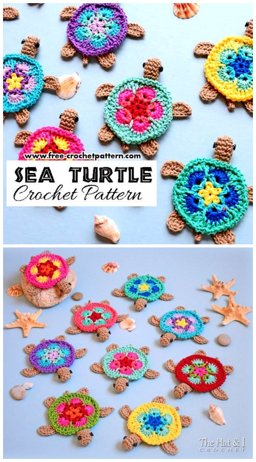 Crochet African Flower Sea Turtle Motif Free Crochet Pattern