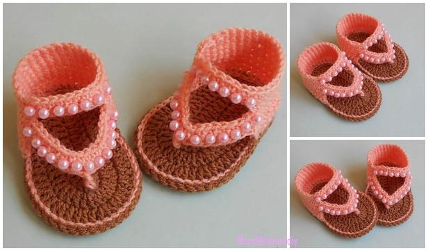 Crochet Baby Flip Flop Sandals Free Crochet Pattern & Video