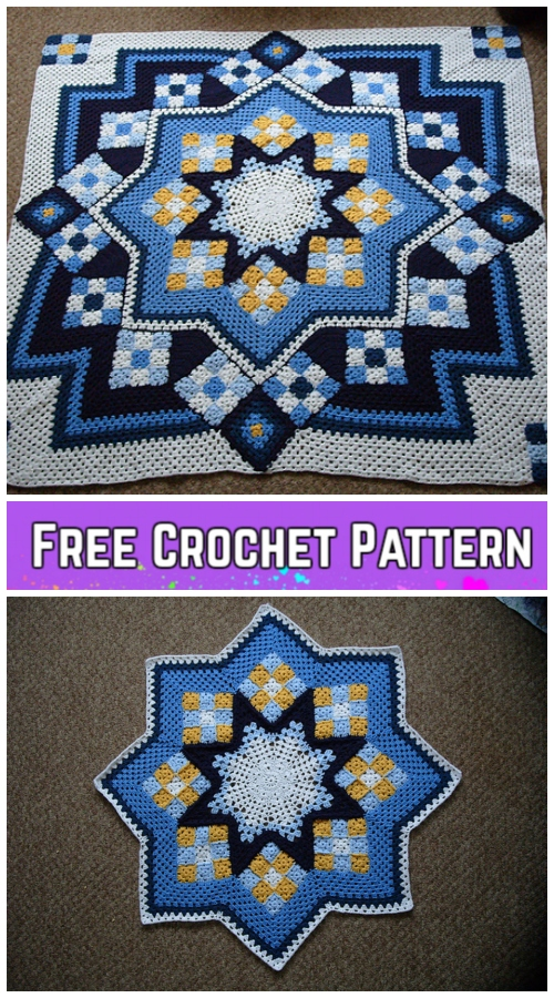 Crochet Blue Star Patchwork Blanket Free Crochet Pattern