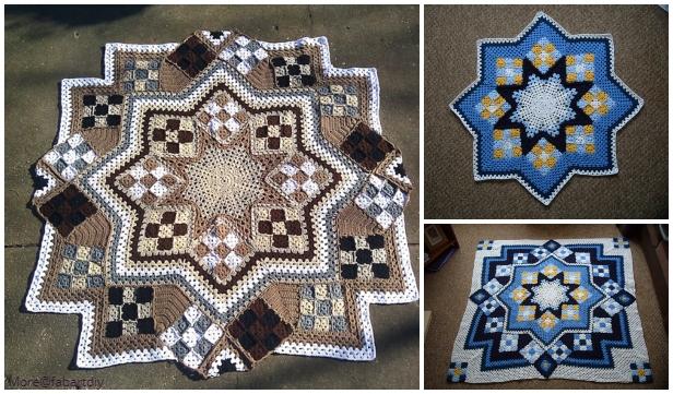 Crochet Blue Star Patchwork Blanket Free Crochet Pattern