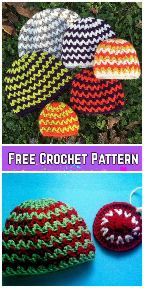 Crochet Quick and Simple Baby Chevron Hat Free Crochet Pattern