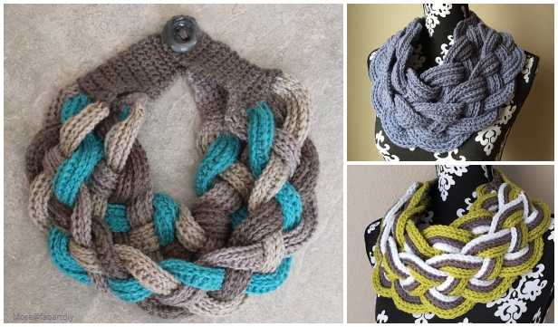 Crochet Double Layered Braided Cowl Free Crochet Pattern-Video