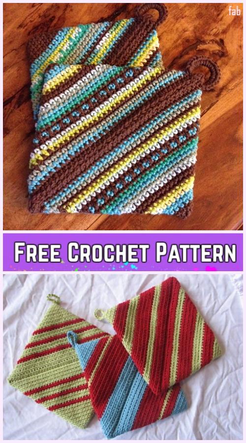 Crochet Double-thick Diagonal Potholder Free Crochet Pattern-Video