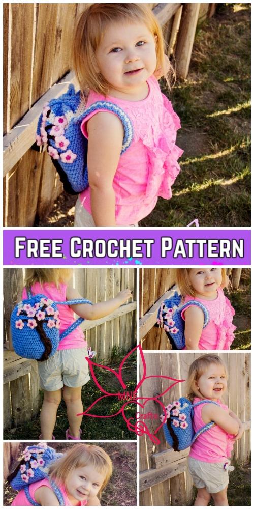 Crochet GirlsCherry Blossom BackpackFree Crochet Pattern