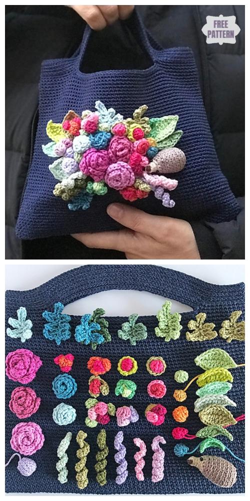 Crochet Joyful Flower Bouquet Bag Free Crochet Pattern