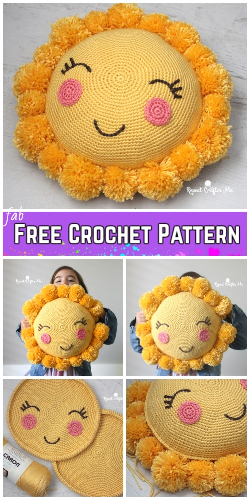 25d6aa6aafcc7 Crochet Pom Pom Sunshine Pillow Free Crochet Pattern for Kids