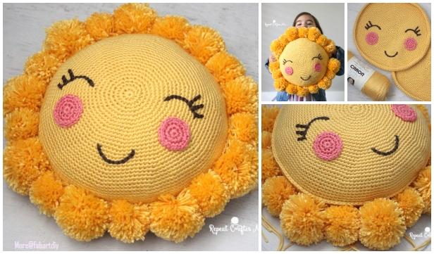 Crochet Pom Pom Sunshine Pillow Free Crochet Pattern for Kids