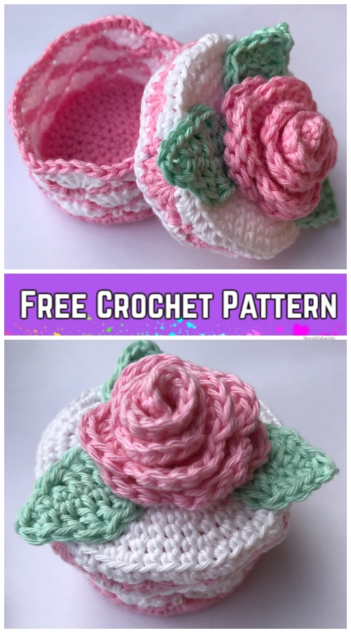 Crochet Romantic Rose Jewelry Box Free Crochet Pattern