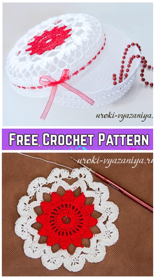Crochet Flower Doily Jewelry Box Free Crochet Pattern