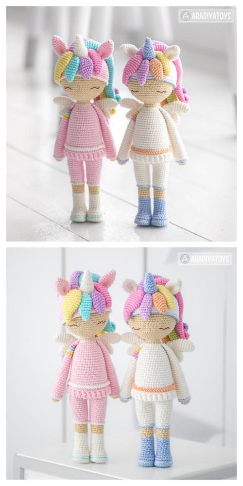 Crochet Unicorn Girl Doll Amigurumi Free Patterns & Paid