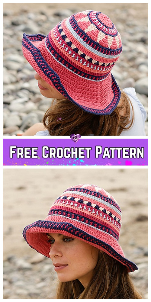 Crochet Vintage Summer Sun Hat Free Crochet Patterns for Ladies