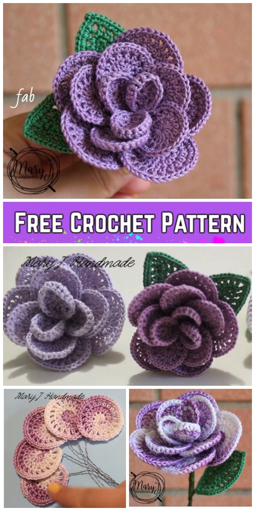 798842b39f7 Crochet Wired 3D Rose Bouquet Free Crochet Pattern-Video Tutorial