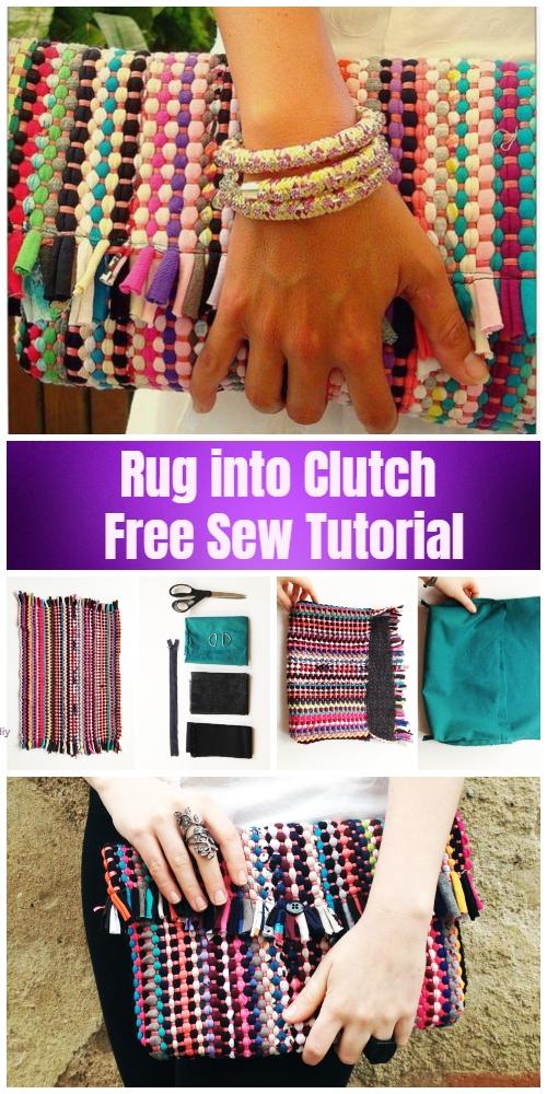 DIY Rug Clutch Bag Free Sew Pattern