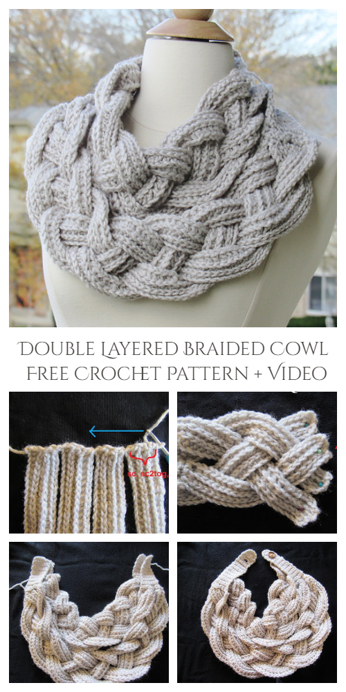Double Layered Braided Cowl Free Crochet Pattern + Video