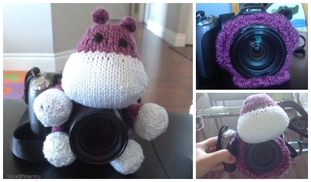 Knit Hippo Amigurumi Camera Lens Cozy Free Knitting Pattern