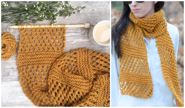 Knit Honeycombs Summer Scarf Free Knitting Pattern - Video