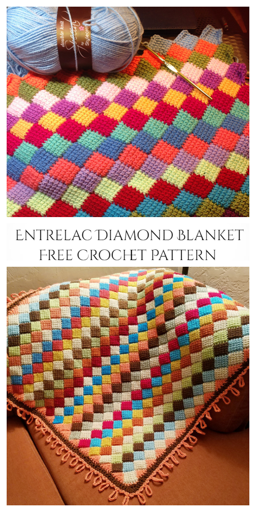 Tunisian Crochet Entrelac Diamond Blanket Free Crochet Pattern +Video
