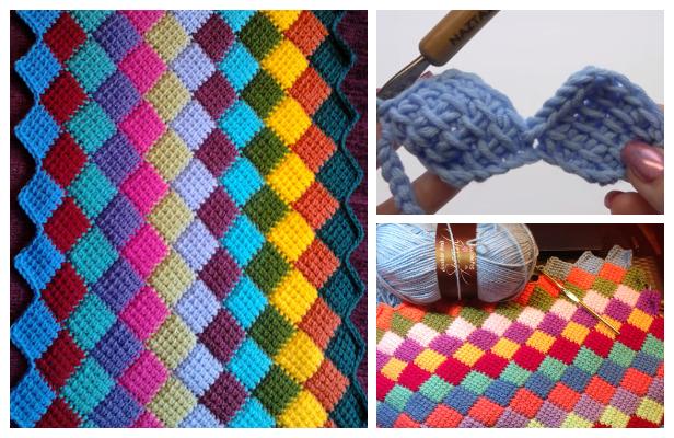 Tunisian Crochet Entrelac Diamond Blanket Free Crochet Pattern +Video