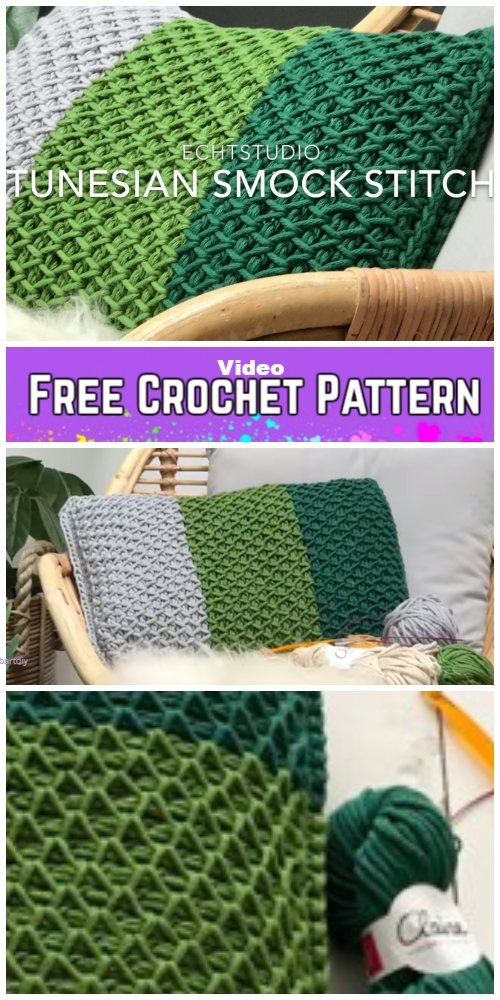 Tunisian Crochet Smock Stitch Pillow Free Crochet Pattern - Video