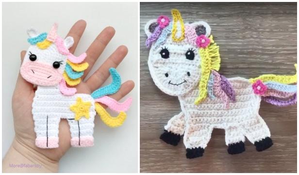 Crochet Unicorn Applique Free Crochet Pattern & Video Tutorial