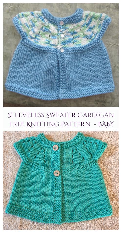 Baby Girl's All-in-One Sleeveless Sweater Top Cardigan Free Knitting Pattern