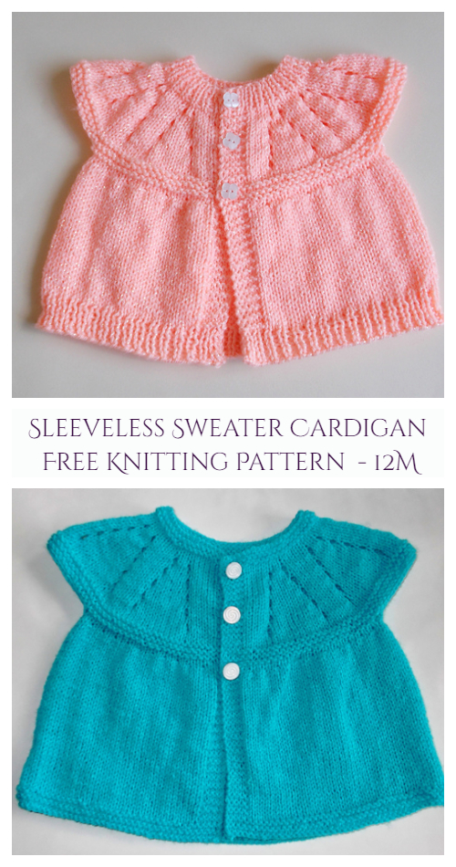 Toddler Girl's All-in-One Sleeveless Sweater Top Cardigan Free Knitting Pattern