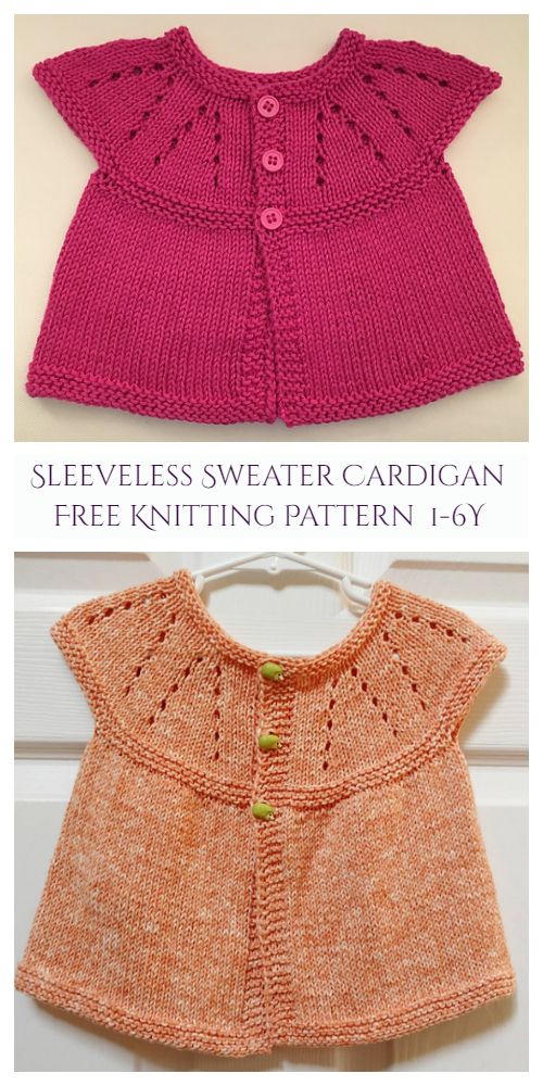 Little Girl's All-in-One Sleeveless Sweater Top Cardigan Free Knitting Pattern