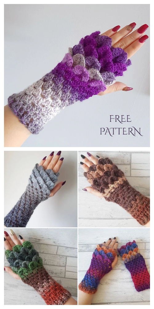 Dragon Scale Fingerless Gloves Free Crochet Patterns