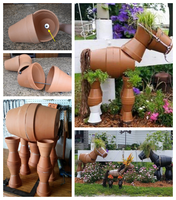 DIY Flower Clay Pot Horse Gardening Planters Tutorial