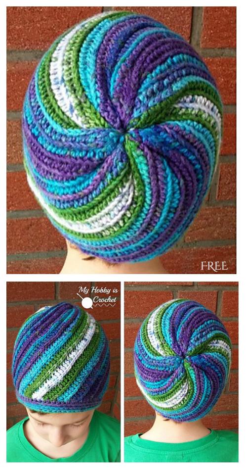 Faux Knit Pinwheel Beanie Hat Free Crochet Pattern