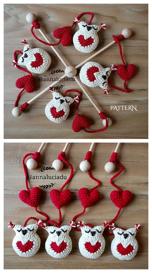 Little Mobile Heart Owl Crochet Pattern