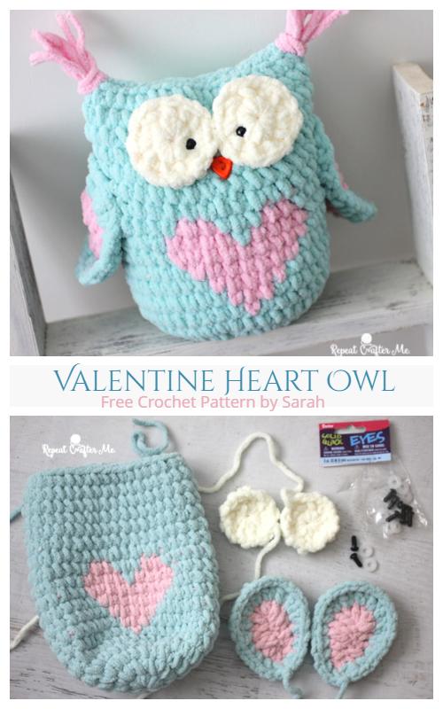 Crochet Valentine Heart Owl Free Crochet Pattern