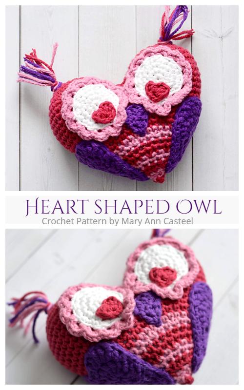 Valentine Heart shaped Owl Crochet Pattern