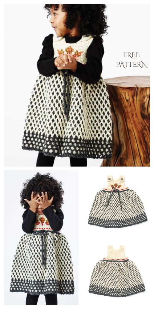Baby Garden Lattice Jumper Dress Free Crochet Patterns