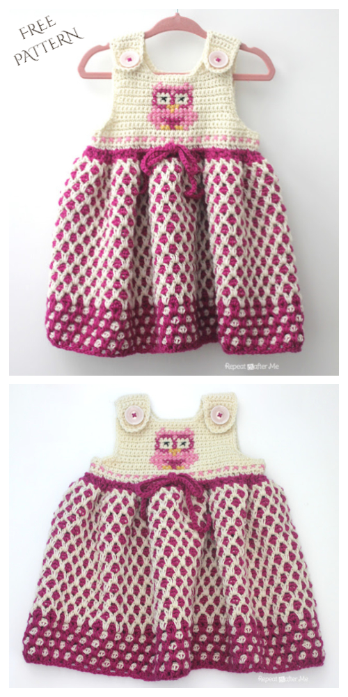 Baby Garden Lattice Jumper Dress Free Crochet Patterns