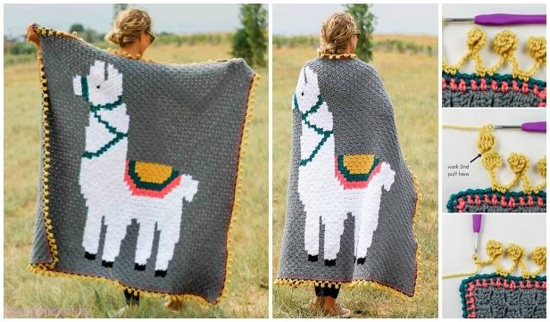 C2C Crochet Llama Blanket Free Crochet Pattern - Video Included