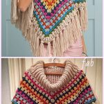 Cowl Neck Poncho Crochet Pattern for Ladies