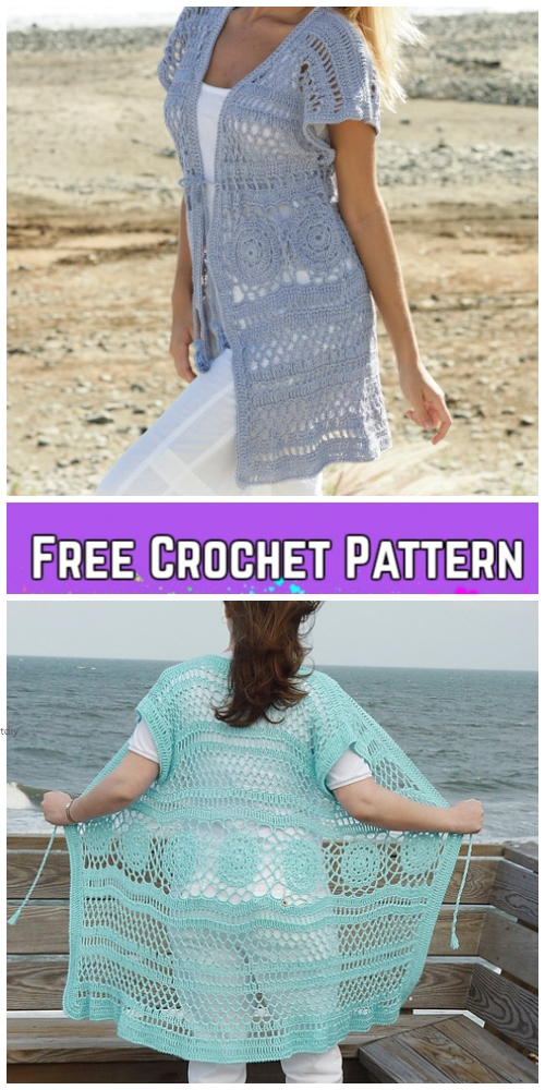 Crochet Adult Tunic & Scarf in-One Free Crochet Pattern for Ladies - Summer Cardigan