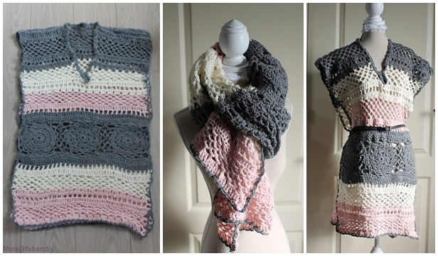 Crochet Adult Tunic & Scarf in-One Free Crochet Pattern for Ladies