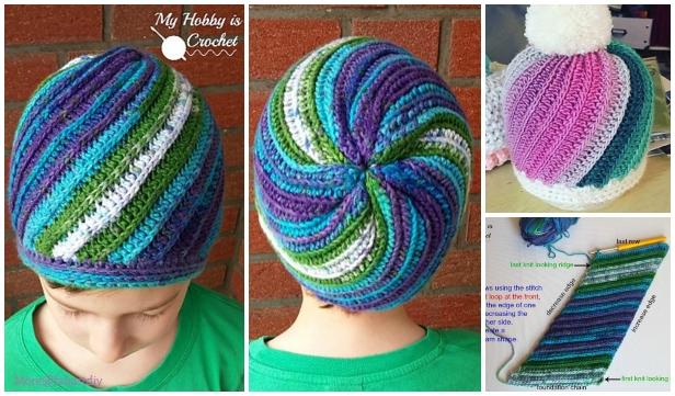 Crochet Faux Knit Pinwheel Beanie Hat Free Crochet Pattern