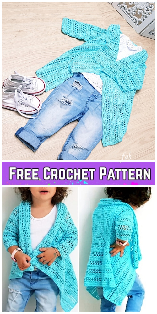 Crochet Girl's Blue Sky Cardigan Free Crochet Pattern-Video Included