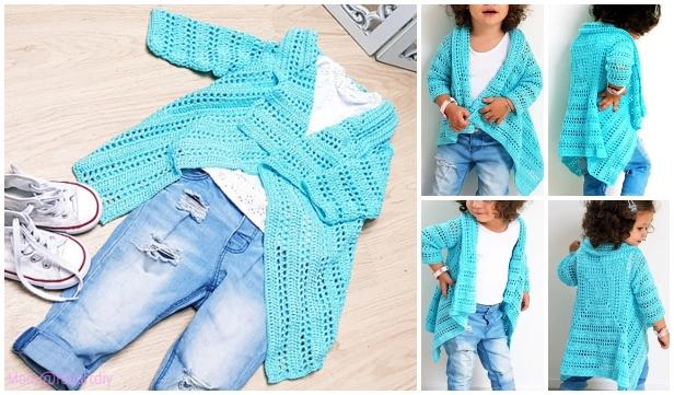 Crochet Girl's Blue Sky Cardigan Free Crochet Pattern-Video Included