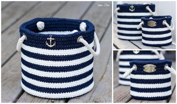 Crochet Nautical Basket Free Crochet Pattern