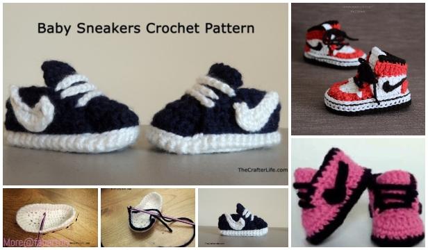 Crochet Nike Style Baby Sneaker Booties Free Crochet Pattern-Video tutorial